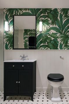 Richmond Crescent - amarchitects.co.uk - photo by rchivers.co.uk Bathroom Toilets, Bathroom Renos, Bathroom Interior, Modern Bathroom, Small Bathroom, Palm Tree Bathroom, Tropical Bathroom Decor, Guest Bedroom Colors, Small Toilet Room