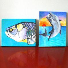 Fish Painting, TARPON, 8x10 Tropical Fish Art