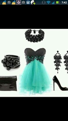 Turquoise and Black Outfit