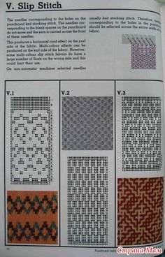 Machine knitting stitches The Harmony guide to: Фото альбомы - Страна Мам Filet Crochet, Knit Crochet, Knit Stockings, Knitting Stitches, Knitting Machine, Fair Isle Pattern, Slip Stitch, Free Pattern, Knitting Patterns