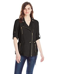 Calvin Klein Women's Soft Moto Jacket, Black, X-Small >>> Visit the image link more details.