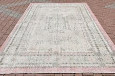 Hi there! Welcome to VinArtStore!  White Bright Pink Color Vintage oushak Rug Turkish Anatolian Home Office Decor Rug Antique bedroom living room rug oushak carpet Pink Rug  Super Fast Delivery! I will send the rug with FedEx, You will receive your rug within 3 - 5 business days. You can return the rug if you find any defects after you receive it (please read our shop policies return policies). Details:  Size - 10.6 x 7.2 feet  - 324 x 218 cm  - 128 x 86 inches  -no: 2277  color- White…