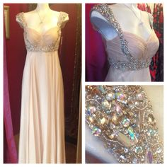Beautiful elegant prom dresses and evening wear. Crystal embellished chiffon.