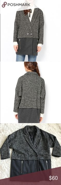TopShop Oversized Tweed Wool Coat Tweed and solid gray wool mix. No stains or tears. Oversized. See photos for true description. Topshop Jackets & Coats