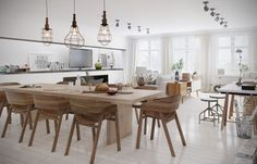 Open plan dining room scandinavian decor polished wood floors wood dining furniture lighting ideas