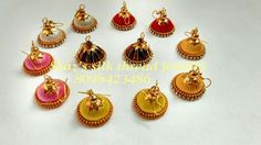 Hook jhumkas in silk thread jewelry.. to order call/whatsapp 8098423486..