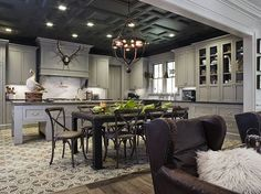 greige: interior design ideas and inspiration for the transitional home : Dark grey in the kitchen..