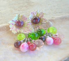 Lampwork Earrings, Patina Leaf, Summer Fashion Colorful Handmade Lampwork Jewelry for Her