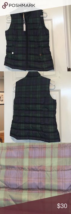 Charter Club Petite Vest Adorable charter club petite small plaid vest. 100% polyester fill shell and lining. Brand-new with tags, pockets with gold snap button closure. Charter Club Jackets & Coats Vests