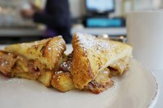 Elvis-style French toast with peanut butter, banana and bacon at Syrup ...