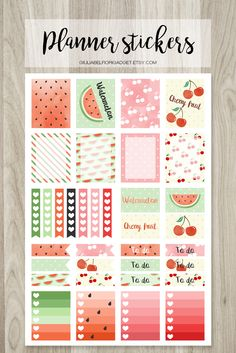 Cherry and watermelon planner stickers! These watercolor printable planner stickers are perfect for the summer! #stickers #summer #watermelon
