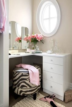 clean vanity + curved mirror + zebra drum seat | via Simply Feminine. So Chic ~ Cityhaüs Design