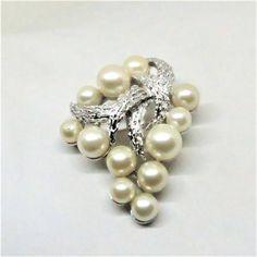 Pearl Brooch - Vintage, Trifari Signed, Silver Tone, Imitation Pearl Pin by MyDellaWear on Etsy $26