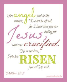 Your Thriving Family: Easter Printable ~ Matthew 28:5