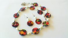 Multi Coloured Floral Necklace And Earring Set.Round Shell Beads, Oval Acrylic Pearl Beading,Small Black Crystals Sterling Silver Vine Clasp by CharismaJewellery on Etsy