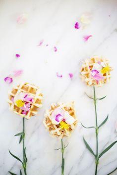 Easter Brunch Idea // Edible Flower Waffles | Lovely Indeed