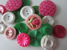 Vintage Buttons  Cottage chic mix of pink green by pillowtalkswf, $8.95