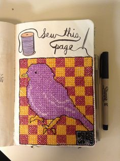 Wreck this journal - sew this page! Birdie cross stitch