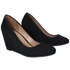Women's Merona® Mackenzie Suede Wedge Pumps - Black. 7.5
