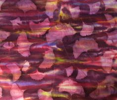 Hand painted soft cotton ginkgo fabric, blend of burnt umber,golden yellow, violet colors,for all quilting, home decor by quiltartfabric on Etsy