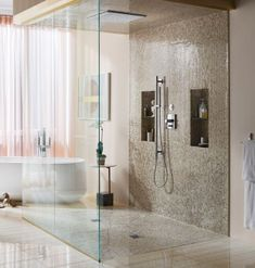 I love the glass shower doors coming all the way to the floor Misty Minimalism Bathroom Shower Stall, Shower Panels, Shower Tile, Shower Surround, Glass Shower Doors, Luxury Shower, Shower Renovation, Bath Panel Storage, Bathroom