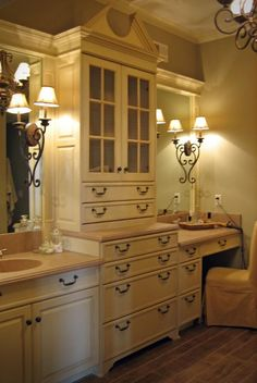 Master Bath or main Bath... Don't like the style.  Just love the concept.  I would want more of a rustic feel.
