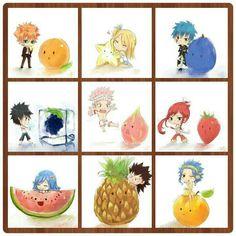 Loke, Lucy, Jellal, Gray, Natsu, Erza, Juvia, Gajeel, Levy, fruit, chibi, cute; Fairy Tail