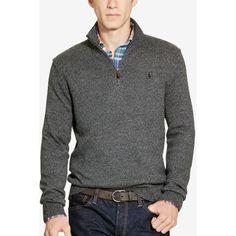 Polo Ralph Lauren Men's Half-Zip Sweater ($50) ❤ liked on Polyvore featuring men's fashion, men's clothing, men's sweaters, dark charcoal, mens sweaters, polo ralph lauren mens sweater and mens half zip sweater