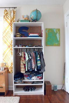 Ikea Hack - No closet? Turn a Billy bookcase into a child's standalone wardrobe Ikea Closet Hack, Closet Hacks, Kid Closet, Closet Space, Bookshelf Closet, Ikea Billy Bookcase, Bookshelves, Simple Bookshelf, No Closet Solutions