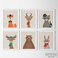 Hipster Woodland Animal Printables Nursery Decor by HappyFoxDesign