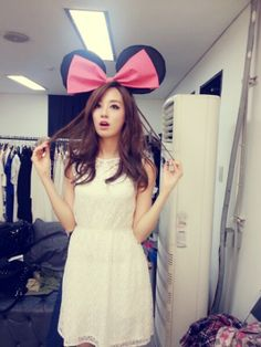 Minnie Mouse ears white dress