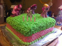 Pink and green themed My Little Pony Cake I decorated last year