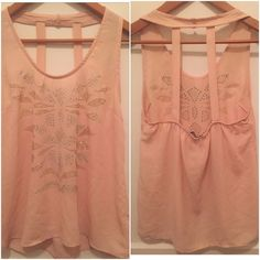 Cute sleeveless top Light pink/ cream top with cute beaded design and open back Charlotte Russe Tops Tank Tops
