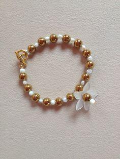 náramek perleť, hematit pokovený