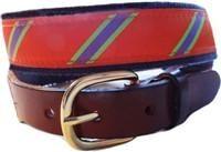 Lillie Designs Exclusive Mens Preppy Orange and Lime Stripe Ribbon Belt