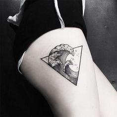 Elegant Asian wave tattoo SouTattooer