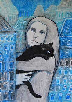 Woman with black cat by Jamilka