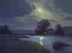 "Moonlight on the Bluefish Oil 18"" x 24"" $26,000. Return to Donald Demers thumbnails"