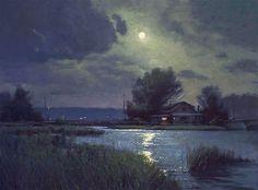 Return to Donald Demers thumbnails Classic Paintings, Cool Paintings, Pretty Art, Cute Art, Nocturne, Landscape Art, Landscape Paintings, Moonlight Painting, Moon Art