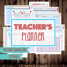 Teacher Planner-Planning Printables for Teachers, Classroom Planner-11 Sheets-Dr. Seuss Inspired Colors-INSTANT DOWNLOAD & EDITABLE on Etsy, $12.00