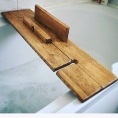 Bath tray, ideally made from reclaimed wood, must have an iPad/book stand. Wood Bath Tray, Wood Bathtub, Bathtub Tray, Diy Bathtub, Wooden Bath, Bath Caddy Wooden, Bath Tray Caddy, Bath Trays, Wooden Ipad Stand