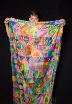 Crazy Town Silk Shawl Hand painted Silk Summer por klaradar en Etsy
