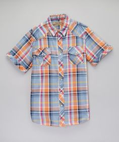 Another great find on #zulily! Rust Plaid Western Button-Up - Men by Red Snap #zulilyfinds