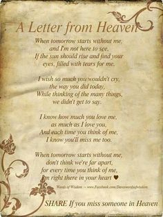 I actually read this at my grandmother's funeral. Miss her every day!