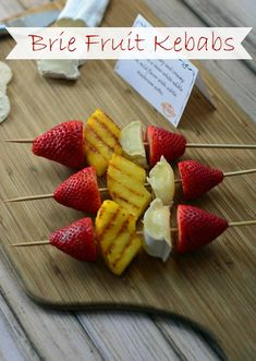 Brie Fruit Kebabs are an easy, elegant and delicious appetizer that come together quickly for a party! #cheese #appetizer #ad