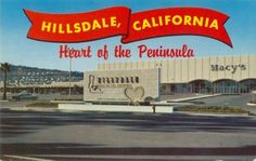 Vintage postcard of Hillsdale Shopping Center -- It continues to be one of the main centers of activity in San Mateo. It's proximity to the Caltrain station makes it a prime location for future multi-family housing and employment center development.