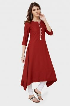 simple and stylish Churidar Designs, Kurta Designs Women, Blouse Designs, Kurta Patterns, Dress Patterns, Indian Outfits, Indian Attire, Stylish Dresses, Casual Dresses