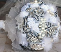 Brooch Bouquet Silver, Grey, White with Satin Handmade Flowers, Lace, Jewels, Brooches, Czech Pearls and Plumes
