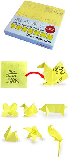 origami sticky notes - cute stocking stuffer