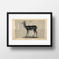 Deer Dictionary Art  Art print on Encyclopedia by FramedBooksArt